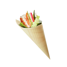 Compostable Pine Wood Sushi Disposable Cones